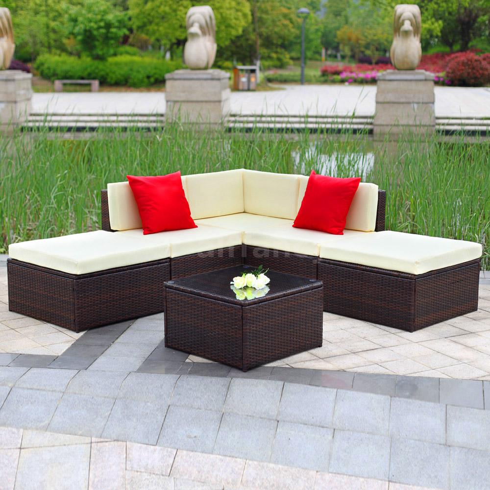 6pc Rattan Wicker Weave Garden Furniture Sofa Set ...